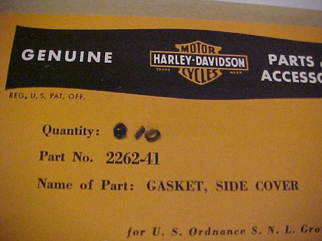 G523, HARLEY-DAVIDSON SIDE COVER GASKET, NOS WWII - Click Image to Close
